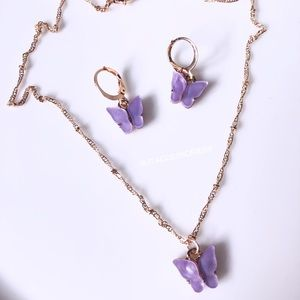 Lavender butterfly earring and necklace set